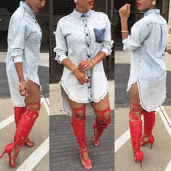 ファッションレディースカジュアルブラウスシャツトップルーズデニムパーティーミニドレスJeanswear