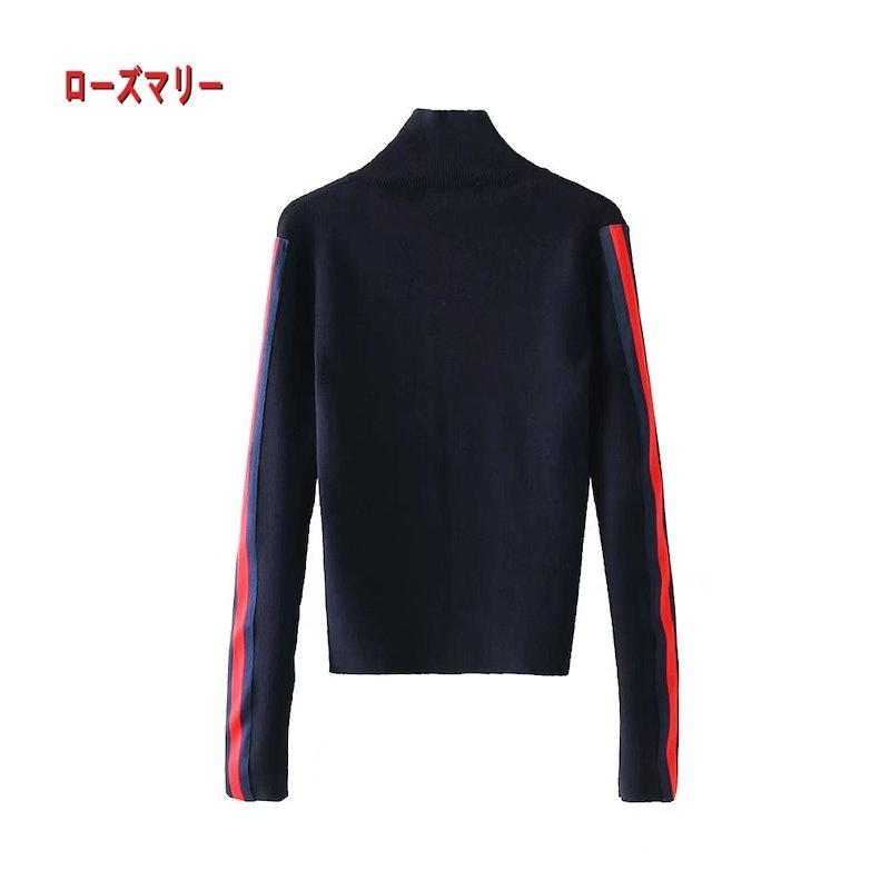 【ローズマリー】春の新型欧米の女装ファッションサイドベルトニット ハイネックセーター ニットセーター ースのセーター 長袖セーター  ベーシック-R1705