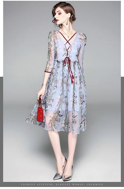 大きいコードの婦人服の2018夏新金の熟している印紙の修身のやせ真糸のワンピースの2点セット004