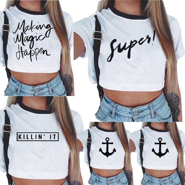 Womens Summer Short Sleeve Tee Blouse Casual Crop Top Letter Print T-Shirt Tops