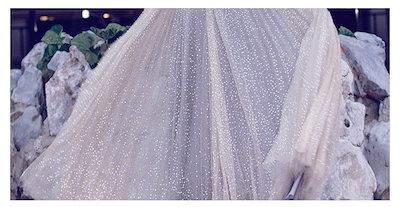 ドレス 結婚式 パーティ チュール マキシ丈 ゴージャス  スパンコール オフショルダー風 A0379