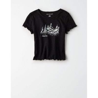 アメリカンイーグルアメリカンイーグル  グラフィックTシャツ  半袖  レディース/ウィメンズ  丸首  ワッフル  トップス 新作 AEO  AEW7-1-030