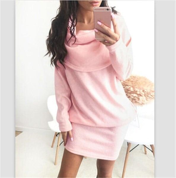 レディースファッションロングスリーブヒープカラフルなセータードレス