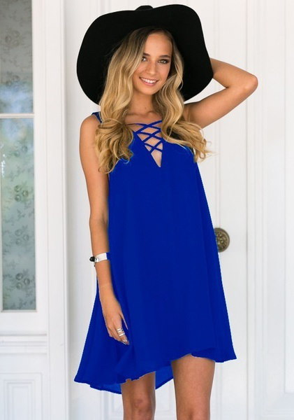 4色女性の夏のファッションセクシーなノースリーブVネックビーチウェアAラインのドレスソリッドカラールースチ