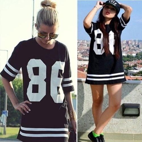 女性のファッションセレブリティ86アメリカンベースボールティーVarsityルーズTシャツドレストップ秋