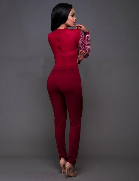 女性のセクシーなナイトクラブカラーホットドリルジャンプスーツ長袖タイトなワンピースパンツ