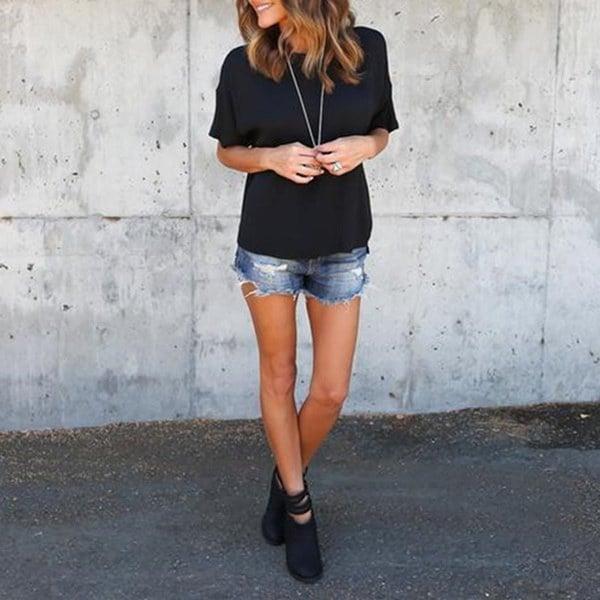 夏のファッション女性のOネックカジュアルTシャツ半袖ソリッドカラーブラウスルーズ不規則なトップティー