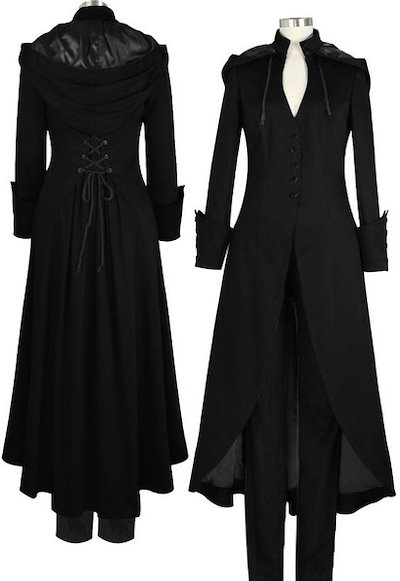 Gothic Black Steampunk Victorian Trench Coat with Hood Plus Sizes