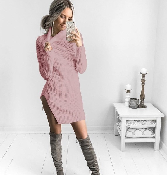 Long Sexy Womens Fashion Knitted Sweater Dress Long Sleeve Sexy Split Sides Long Dresses