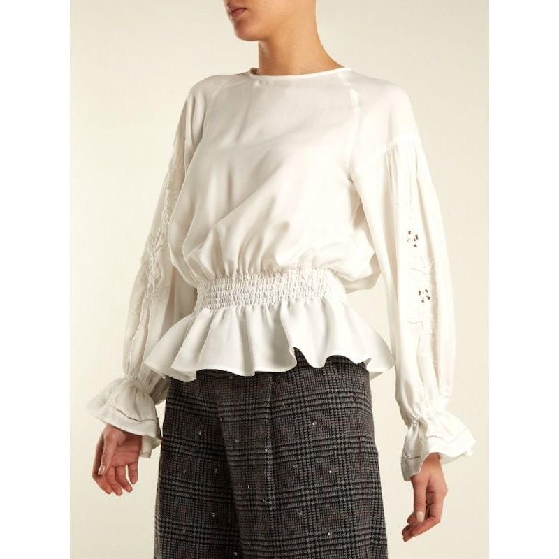 ミュベール レディース トップス ブラウス・シャツ【Embroidered-sleeved twill blouse】White