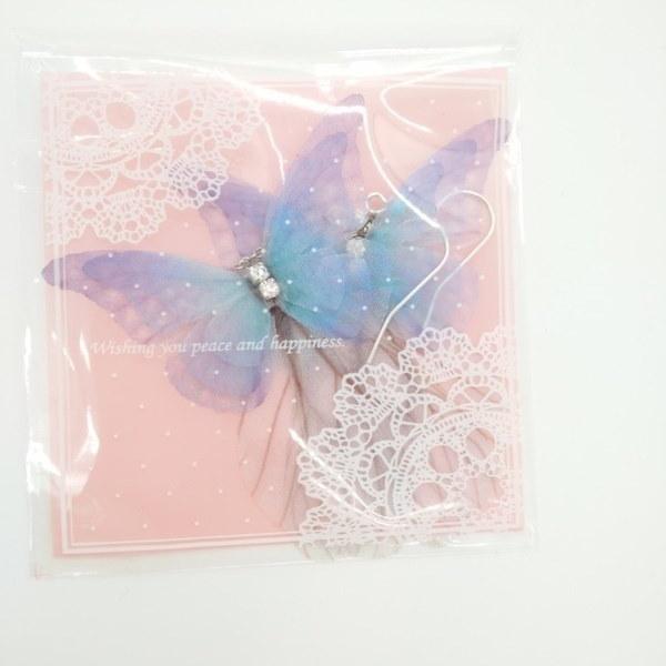 ファンタジー糸バタフライピアスイヤリングの小さく純粋で新鮮なスタイル糸のバットの3つの層
