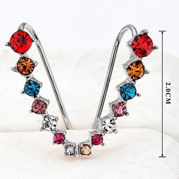2015最高品質新しい4つ折りの設定7本CZのダイヤモンド18Kゴールドメッキイヤーフックスタッドピアスジュエ