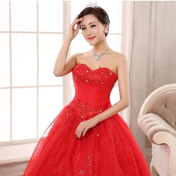 ブライダルドレスウェディングドレス新しい大きな赤いファッション甘いウェディングドレス花嫁の床の長さのレースのダイヤモンド