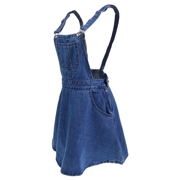 夏の女性カジュアルブレースサスペンダーフレアプリーツスカートスカートデニム全体ドレス