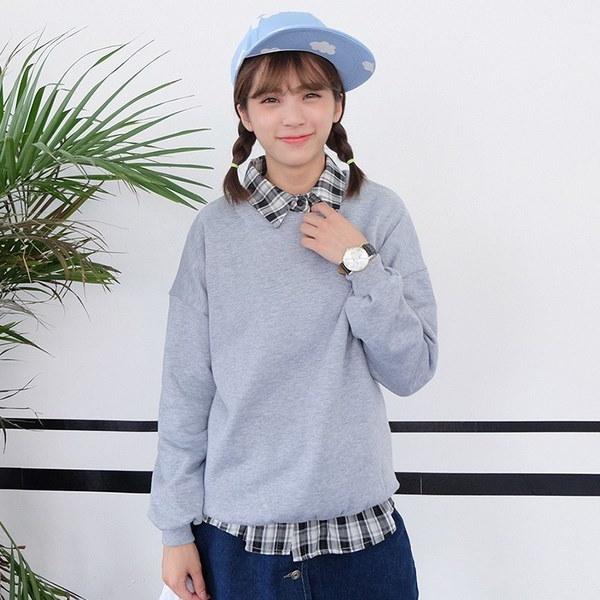 プラスサイズS-3XL新ファッション女性キャンパス風プラスカシミアソリッドカラーヘッジOネックカジュアルルー