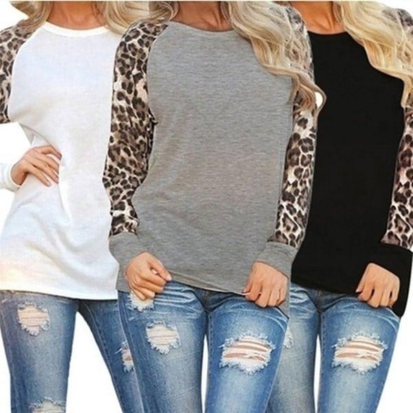 女性ファッションパッチワークヒョウプリントプルオーバーシフォンロングスリーブカジュアルTシャツ