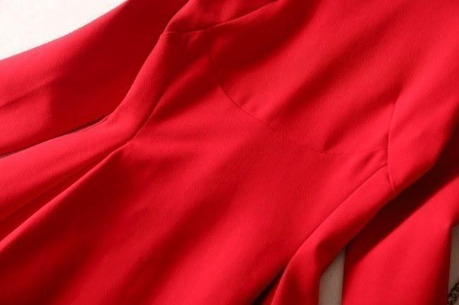 エレガント セクシー オリエンタル Aライン ワンピース ワンピ 長袖 フレア レッド 赤 レディース【エレガント セクシー オリエンタル Aライン ワンピース ワンピ 長袖 フレア レッド 赤 レデ