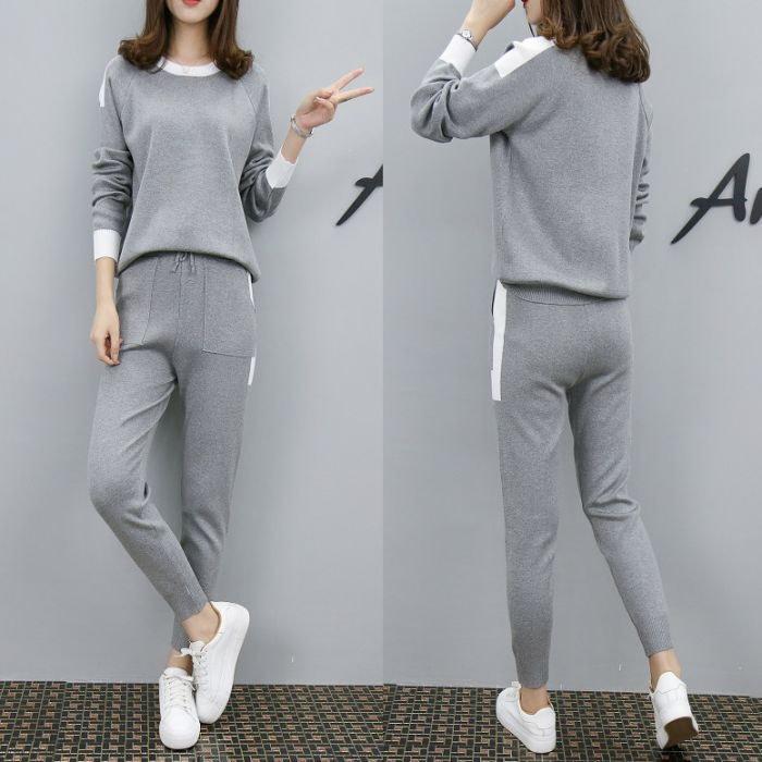 [全4color][2点SET]ニットセットアップ ニットセット 暖かい女性ニットツーピーストップ+パンツSETストレッチある高品質ルーズフィットニット