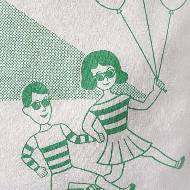 レディース トート バッグ ショルダーバッグ かばん ななめがけ エコバッグ キャンバス グリーン イラスト OohLaLa 1537 ウララ オロル
