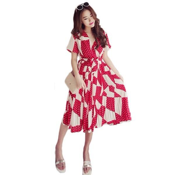 送料無料!!!レディースワンピース 韓国無地 スリム 韓国のファッション シフォンハイウエストワンピース   V領 プリントワンピース 上品 ロングスカート ハイセンス 着心地いい おしゃれ 夏 スリム セール★ レディースワンピース
