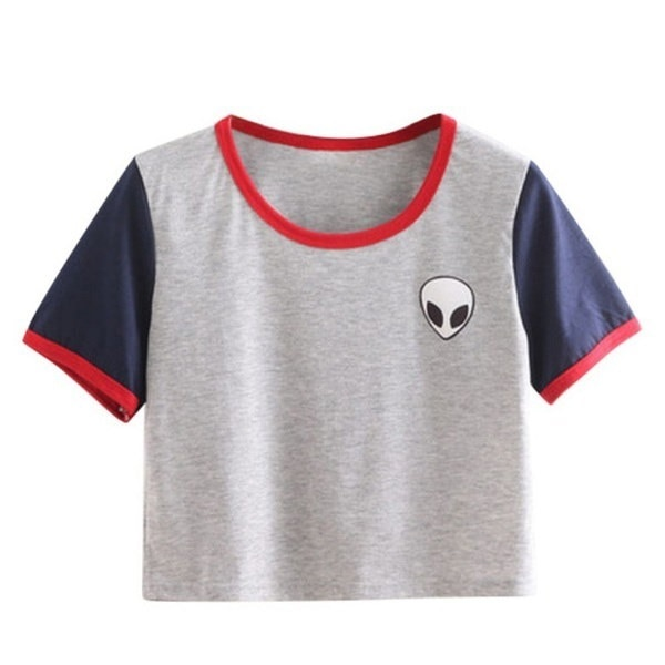 夏カジュアル作物トップエイリアンプリントTシャツ女性ルースプリントショートスリーブTシャツ