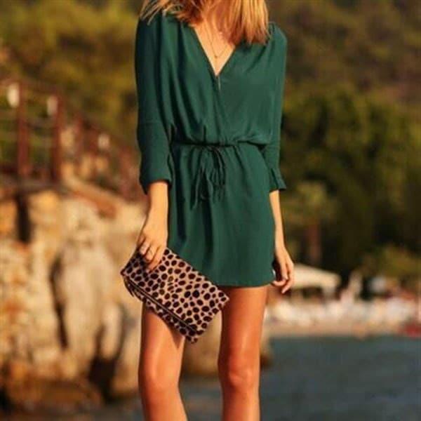 ZUIMAN Fashion sexy V collar long sleeved Green Belted long sleeved dress wzlmC-170802112D38