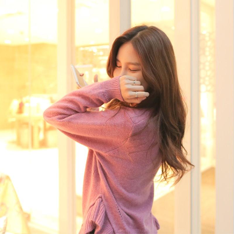 無料配送[CHERRYVILLE]、秋のファッション★韓国ファッション★女性ファッション★丸いフリルニット★・ニット★デートファッション★推薦デーリー・ウェア