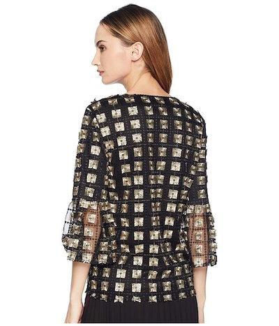カルバンクラインカルバンクライン レディース シャツ トップス Embroidered Net Bell Sleeve Blouse