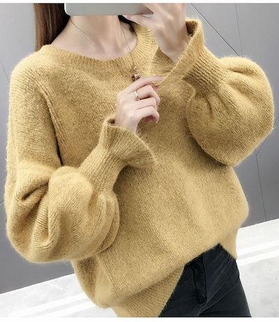 長袖セーター クルーネック ランタンスリーブ 可愛い♪ 柔らか素材 A00678
