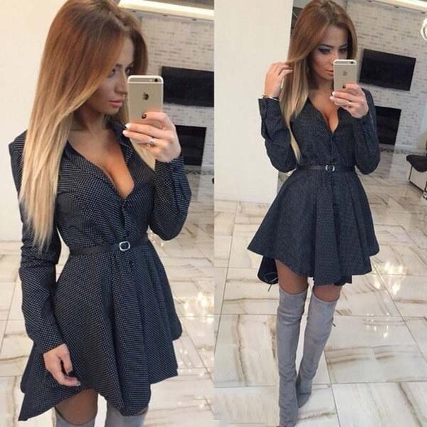 女性のセクシーなラペルシャツスカートロングスリーブドレス