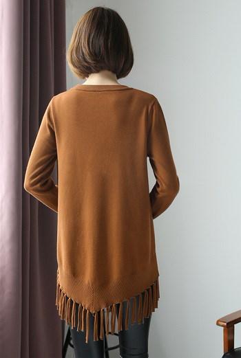 【送料無料】春秋 ニット セーター フリンジ  ベーシック 純色 クルーネック ゆったり おしゃれ 長袖 シンプル カジュアル 9color