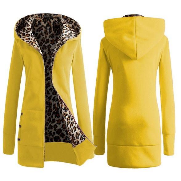 (イエロー、レッド、ブラック、ブルー)ヒョウライニング女性ファッションロングソリッドコート