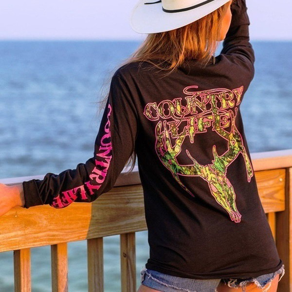 "Women Fashion Ladies Sexy Skull Camo Deer Silhouette Pattern and ""COUNTRY LIFE"" Letter Print Slim Fi"