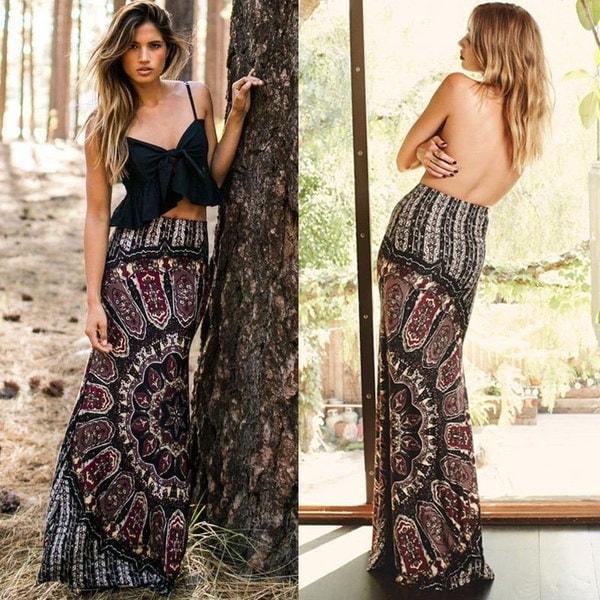 メンズマキシサマーロングカジュアルスカートドレスジプシーBoho Tribal Floral Beach Skirt