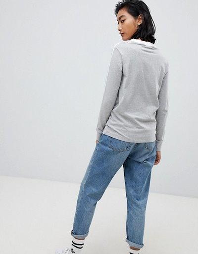アディダスアディダス レディース Tシャツ トップス adidas Originals Three Stripe Long Sleeve T-Shirt In Gray