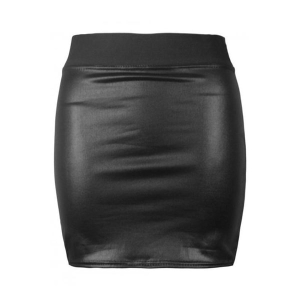 女性セクシーなブラックPUレザーペンシルボディコンハイウエストミニワンピースショートスカート