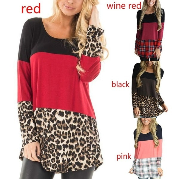 Womens Color Block Tunic Tops Casual Long Sleeve T-Shirts Blouses with Plaid Hem