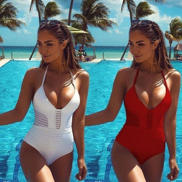 女性セクシーなワンピースビキニソリッド水着ワイヤフリー水着Monokini