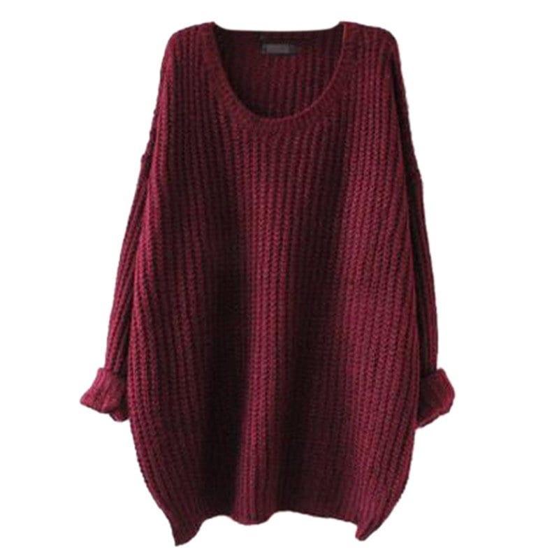 女性の長袖ファッション秋と冬ルースニットラウンドネックセーター