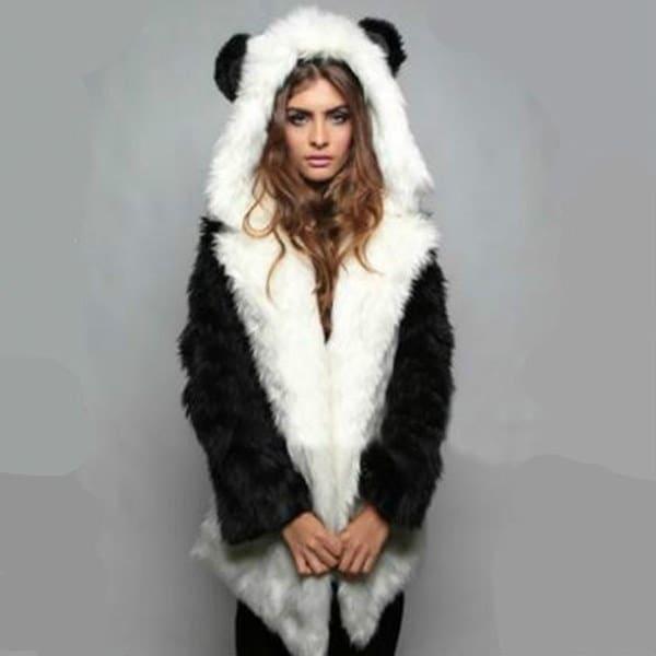 秋冬ファッション女性フェイクファーフード付き厚手パンダかわいいオーバーコート