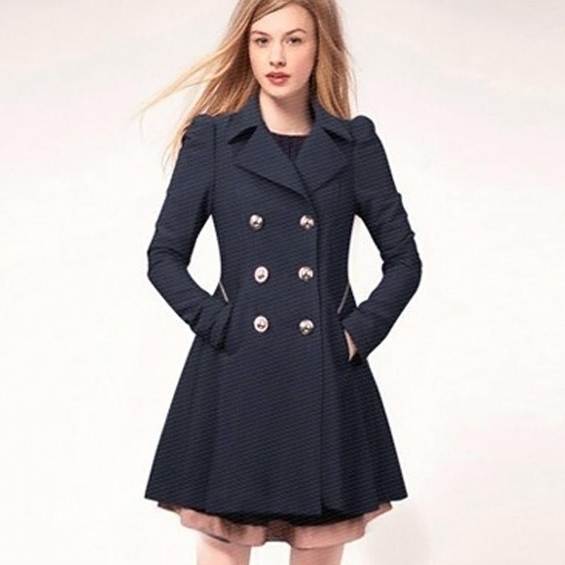 トレンディなファッションの女性のカジュアルスリムターンダウンカラー長袖ロングウィンドジャケットのラペルトレンチ生き抜くコート