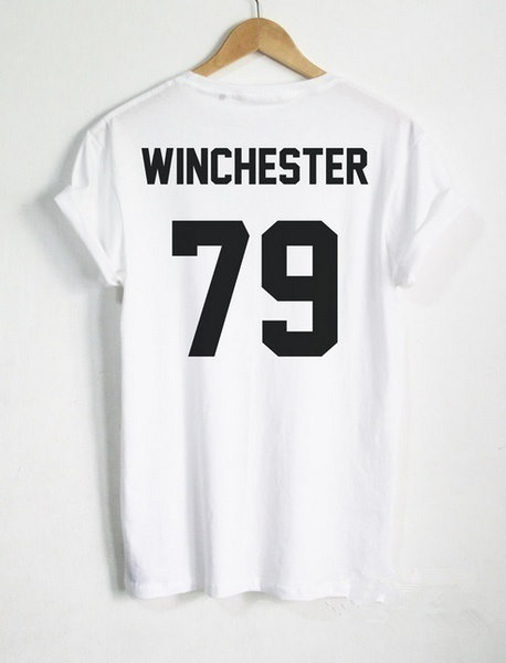 Casual Cotton Funny Supernatural Shirt Dean Winchester Shirt WINCHESTER 79 back Letters Print Women