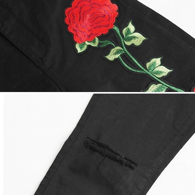 女性のジーンズハイウエストジーンズファッションフラワー刺繍ジーンズスキニーセクシーなカジュアルなジーンズFemmeビッグサイズ