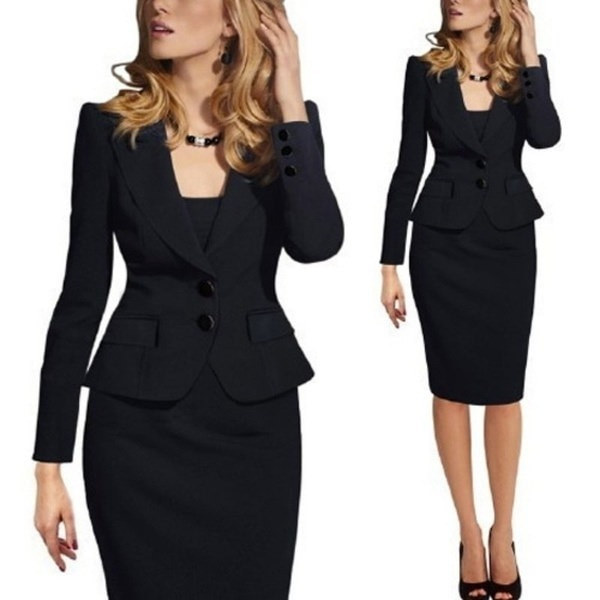 フォーマルな女性スリムCuasualビジネスブレザースーツアウトレットジャケットコート2ボタンワークウェア