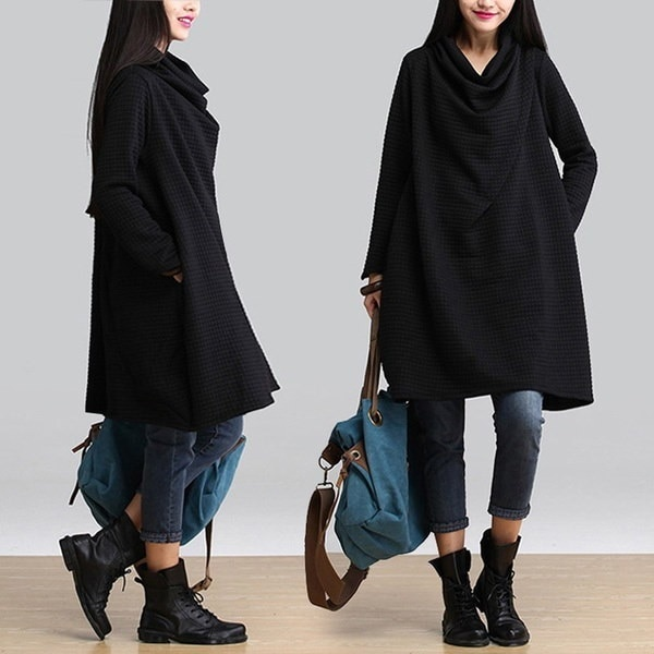 アメージングデザインファッション秋冬女性ルーズ長袖カジュアルプルオーバー特大バギージャンパー