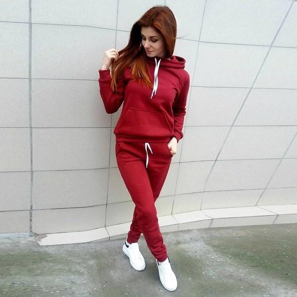 ファッション秋の女性Tracksuitsロングスリーブフード付きスエットシャツ+ロングパンツTwo Piece Set Sportsuit