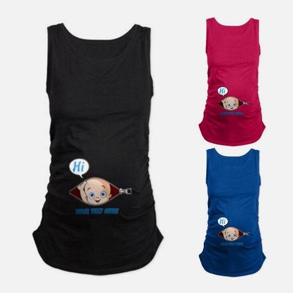 面白いベイビープリント夏のマタニティTシャツコットンカジュアルベストタンクトップ妊娠前の服
