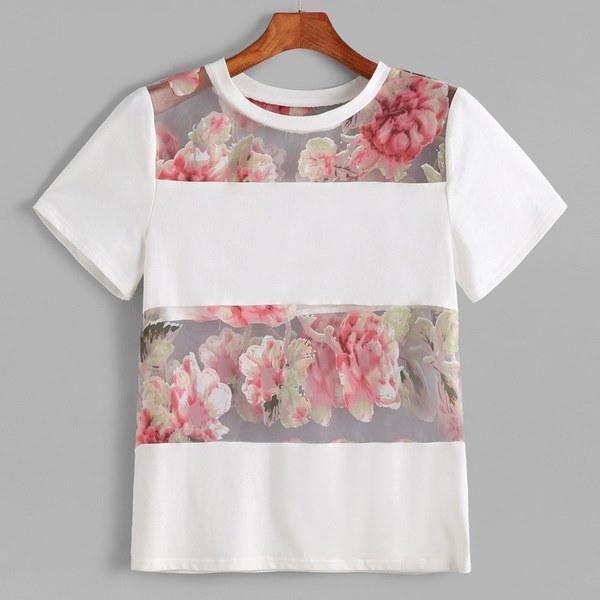 新しいスタイルの女性の夏の白半袖花プリントTシャツブラウストップレメスTシャツ