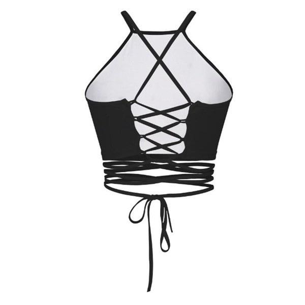 3Dスケルトンハンドプリントクロップドセクシーな女性ストラッピービスチェホルタークロップトップ原宿ファッション女性