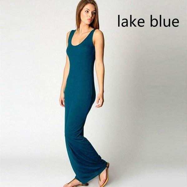 ファッション女性ノースリーブカジュアルマキシタンクドレスセクシードレス13色(サイズ:L、カラー:ブラック)